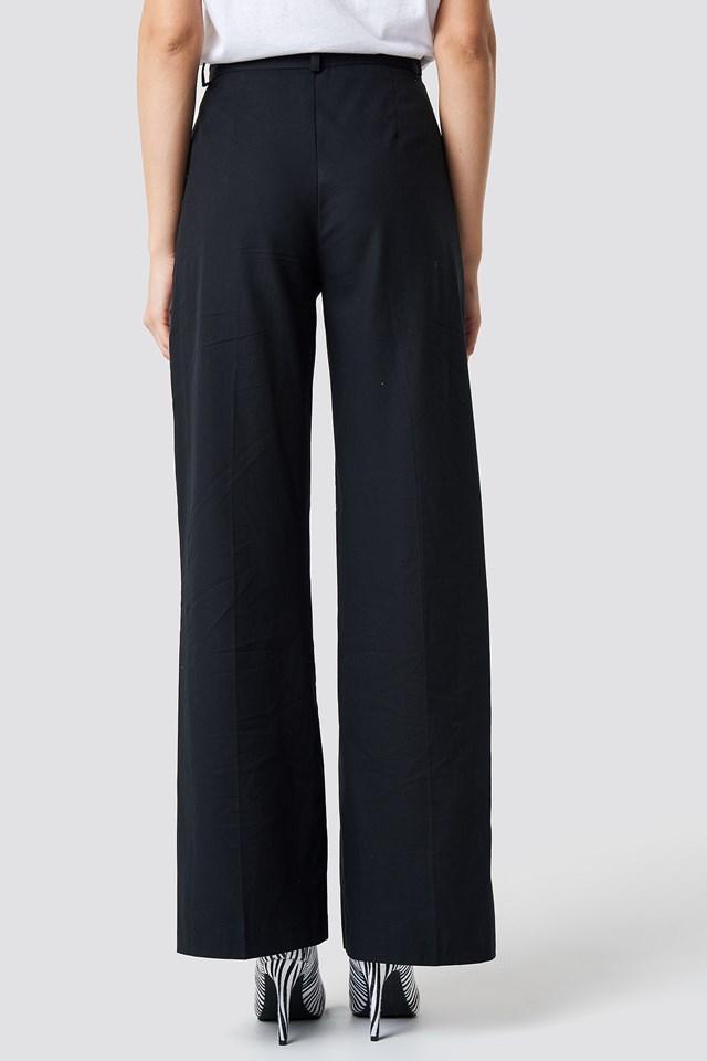 Flared Leg Creased Suit Pants Black