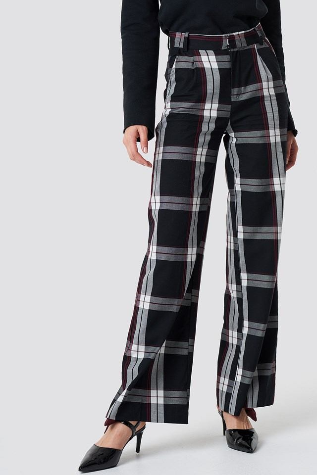 Flared Leg Creased Suit Pants Checkered