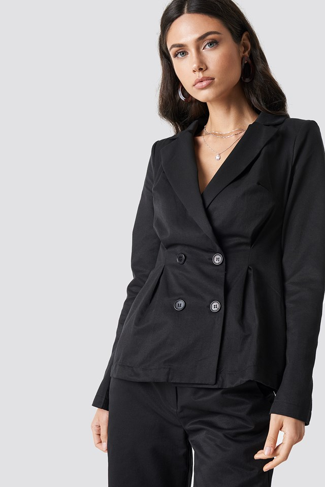 Gathered Waist Double Breasted Blazer NA-KD Classic