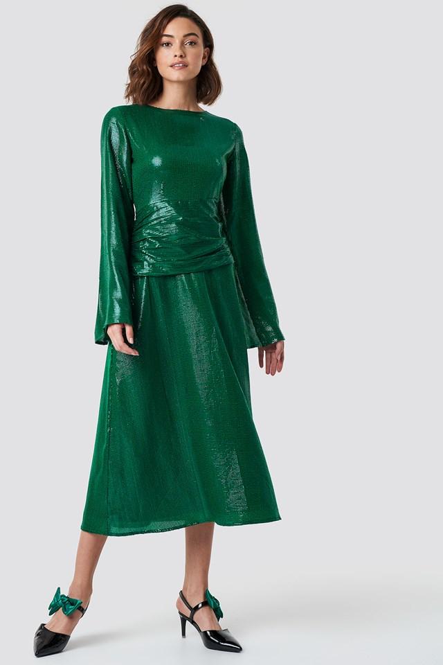 Gathering Detail Sequins Midi Dress NA-KD.COM