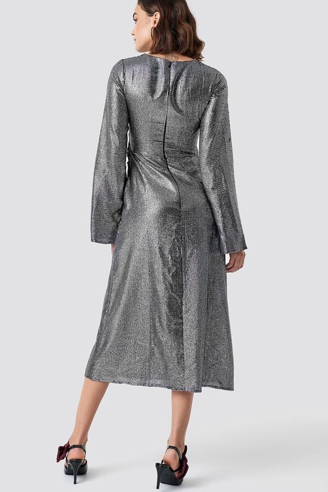 Gathering Detail Sequins Midi Dress Silver