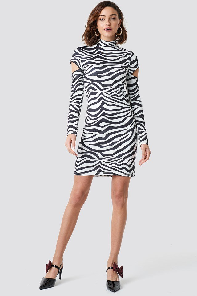 High Neck Cut Out Sleeve Dress Zebra