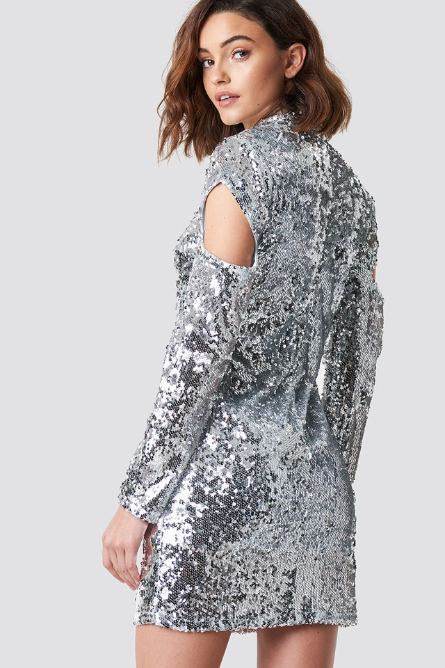 High Neck Cut Out Sleeve Sequin Dress Silver