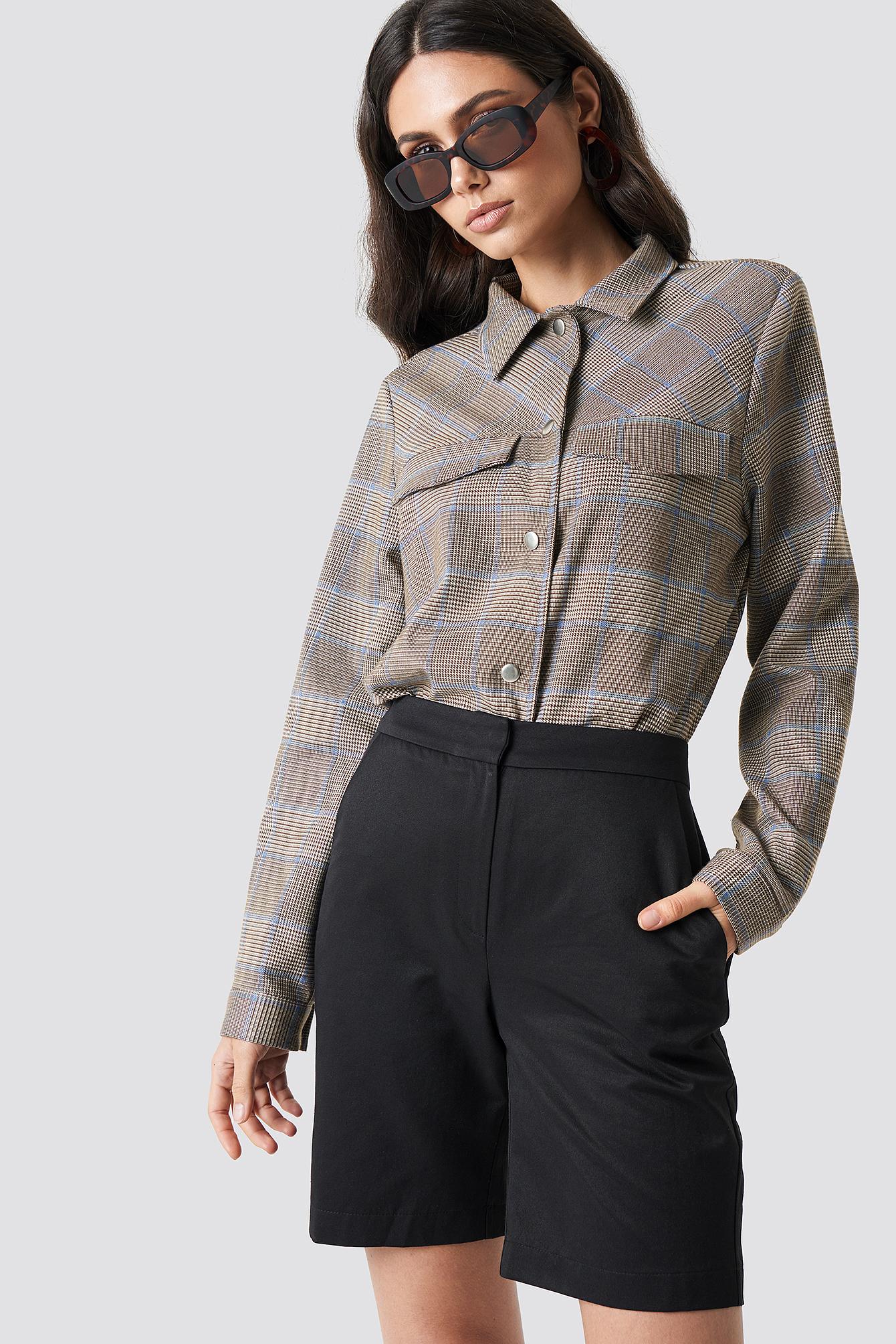 NA-KD Classic High Waist Tailored Shorts - Black