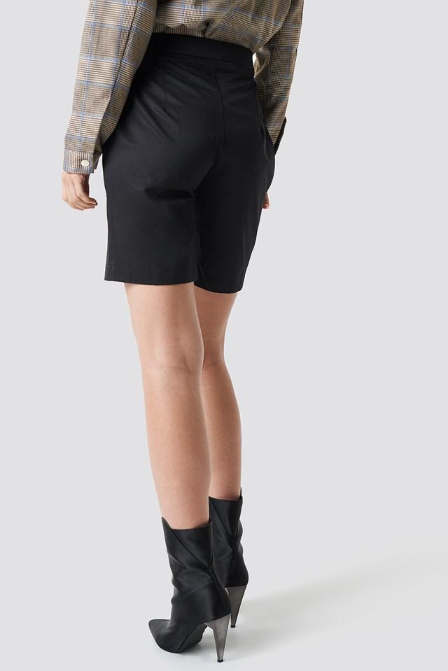High Waist Tailored Shorts Black