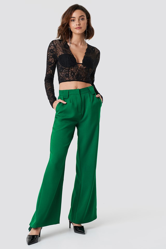 High Waisted Flared Suit Pants NA-KD Trend