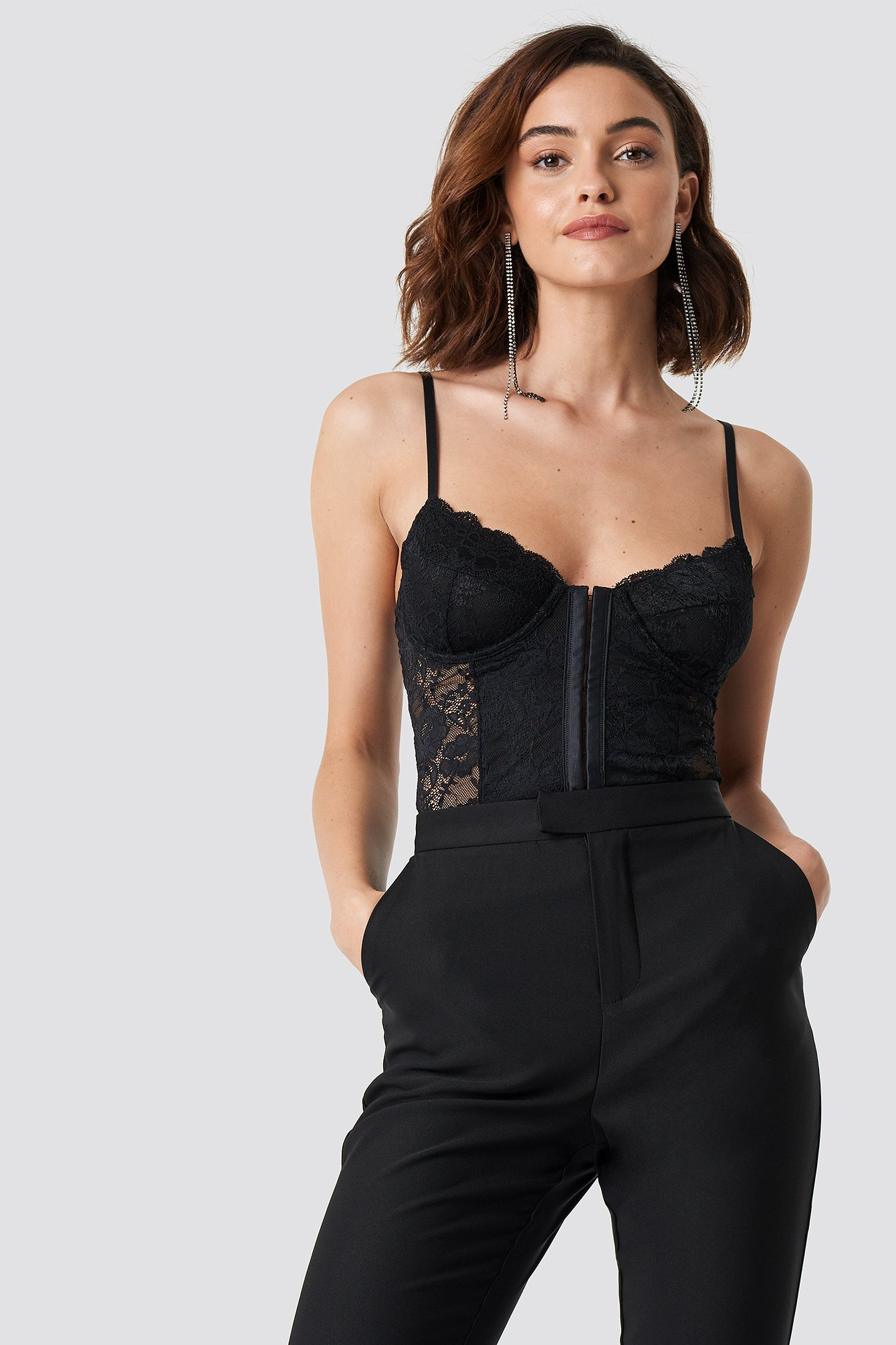 Lace Cup Corset Zwart by Na Kd Lingerie