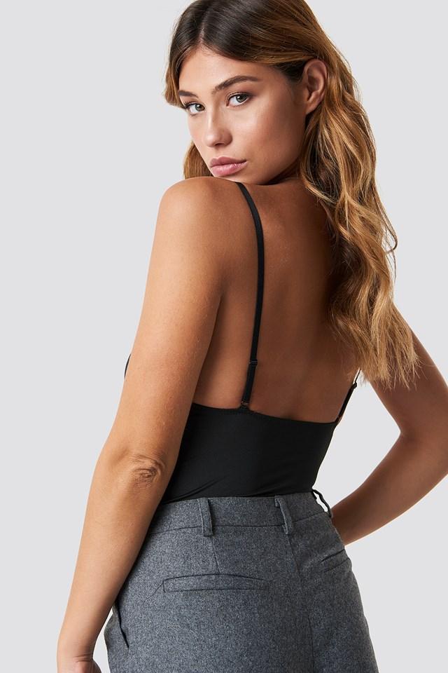 Lace Detail Corset Bodysuit Black