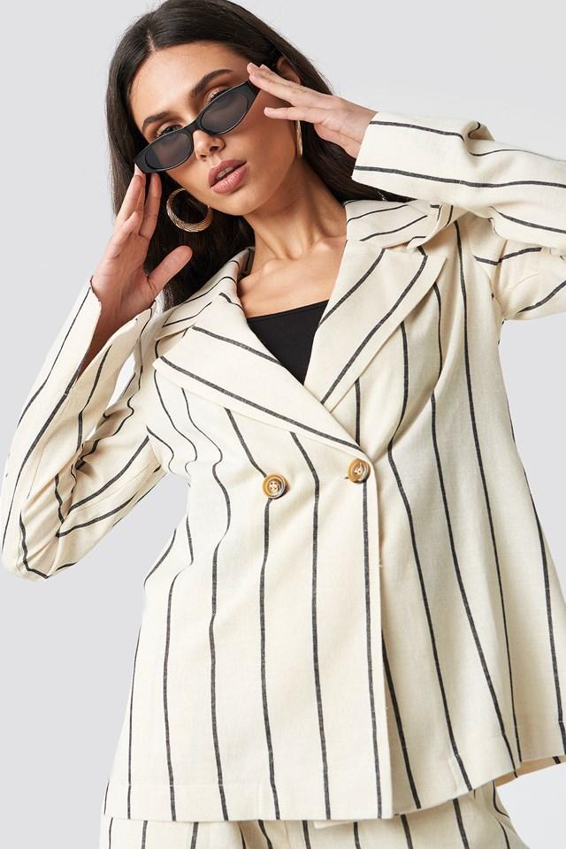 Linen-blend Blazer NA-KD Classic