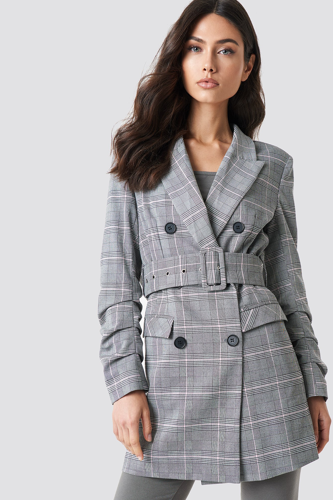 Long Checkered Belted Blazer NA-KD.COM