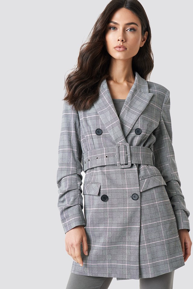 Long Checkered Belted Blazer NA-KD Classic