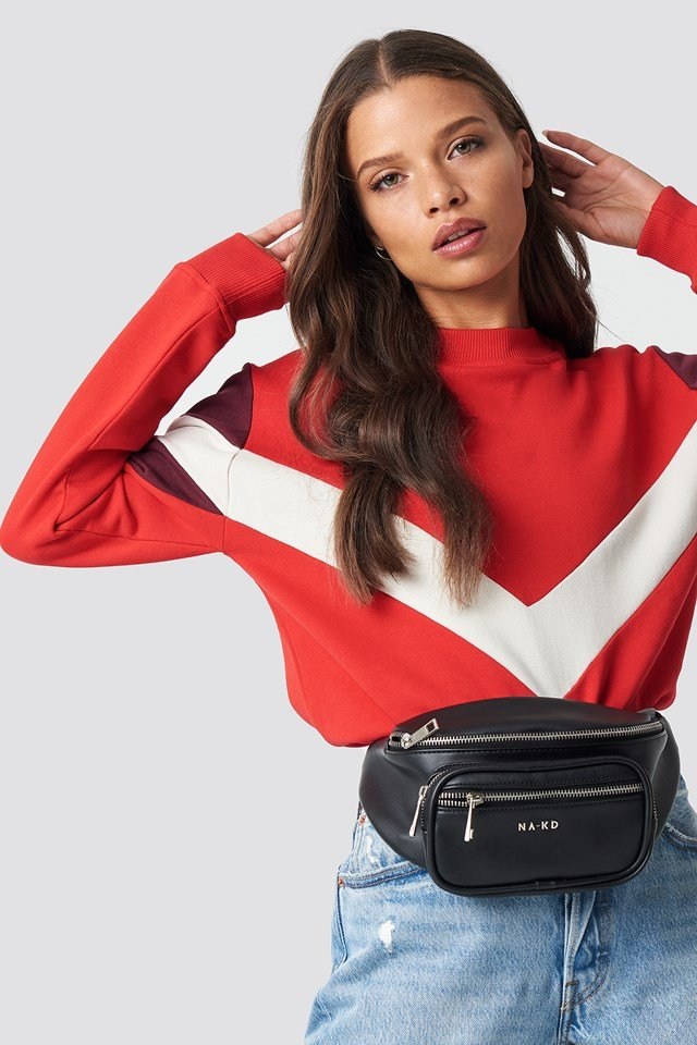 Multi Blocked Sweatshirt Red