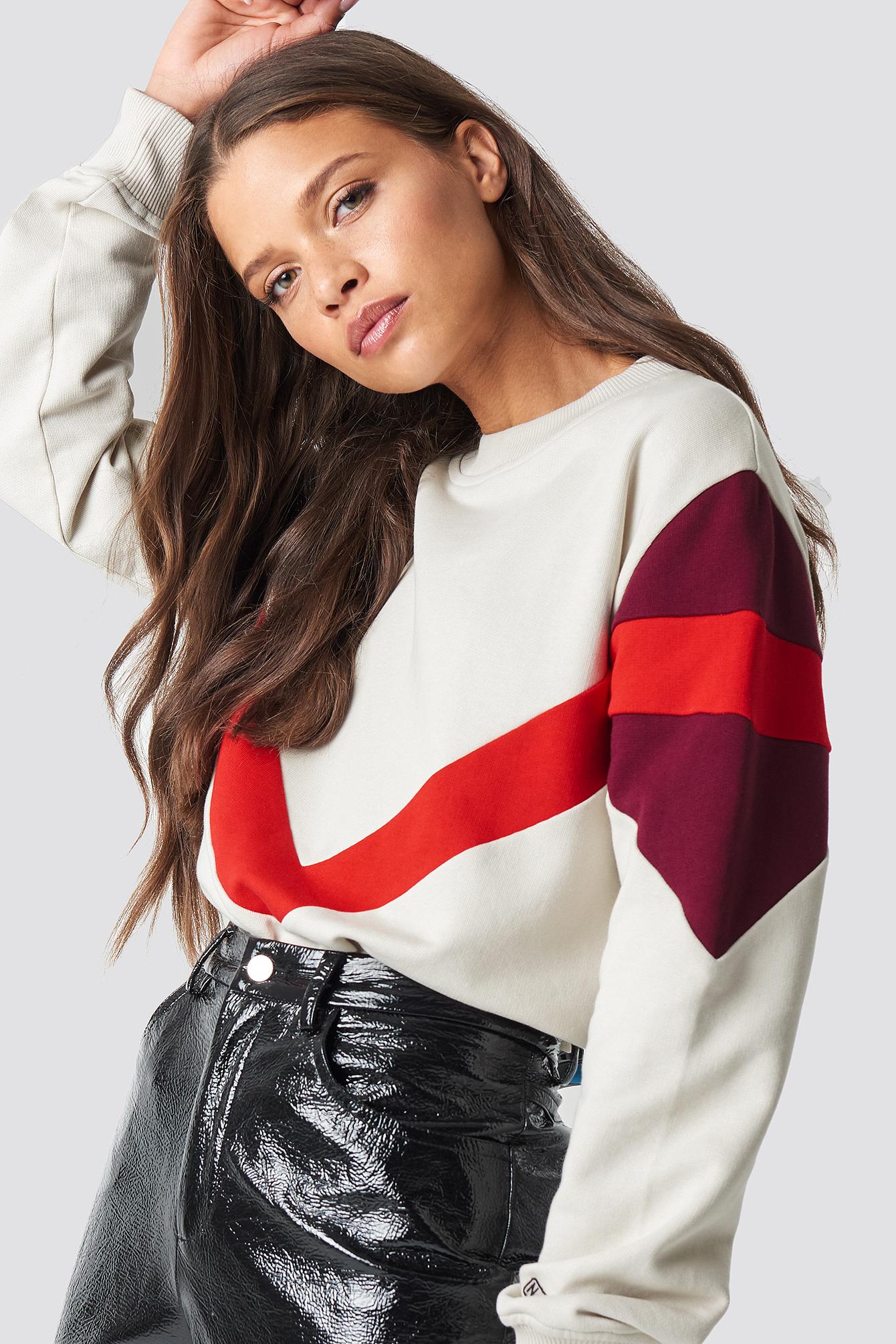 na-kd -  Multi Blocked Sweatshirt - Beige