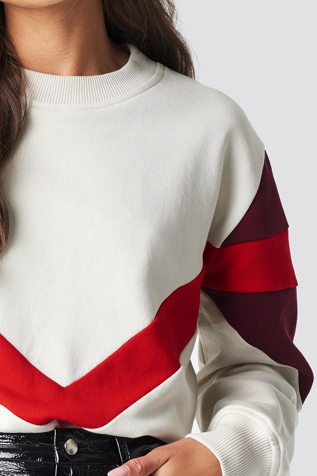 Multi Blocked Sweatshirt Light Beige