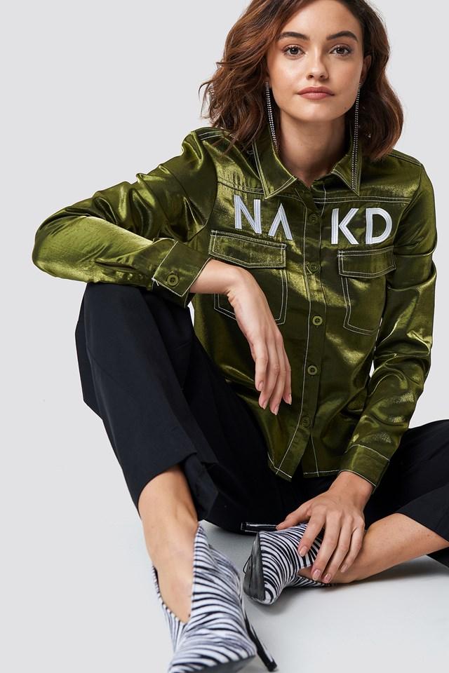 NA-KD Contrast Shirt Green