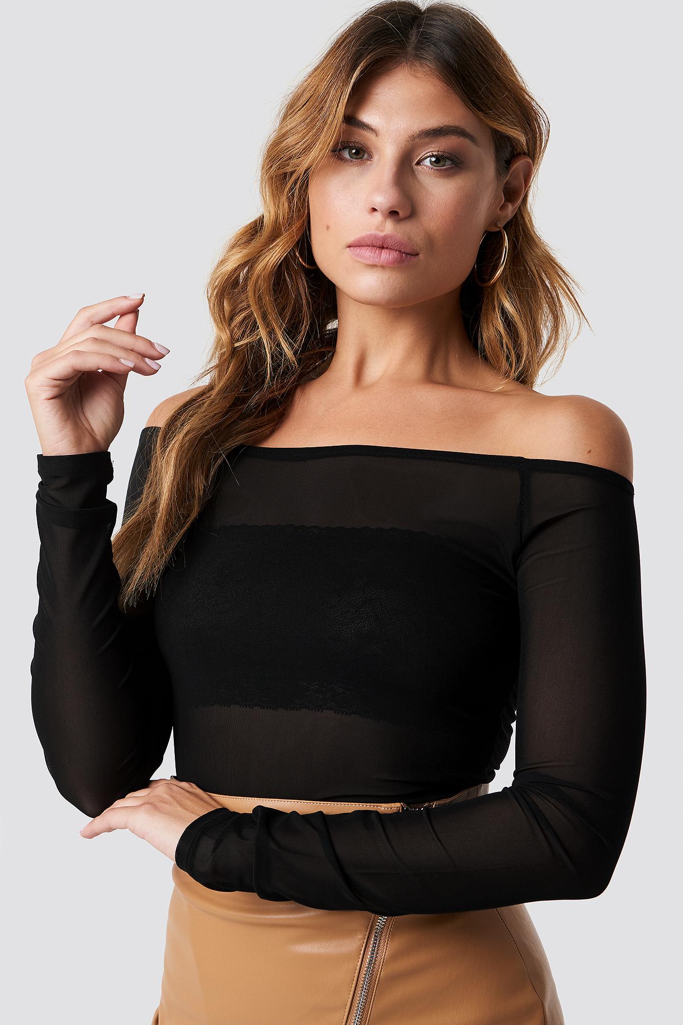 na-kd trend -  Off Shoulder Mesh Top - Black