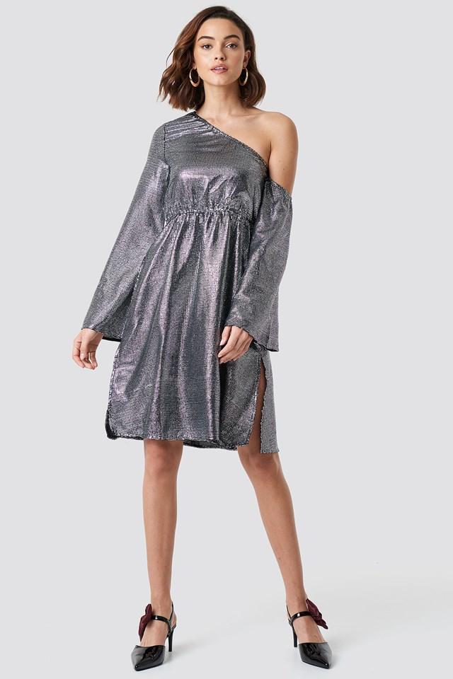 One Shoulder Asymmetric Sequin Dress Silver