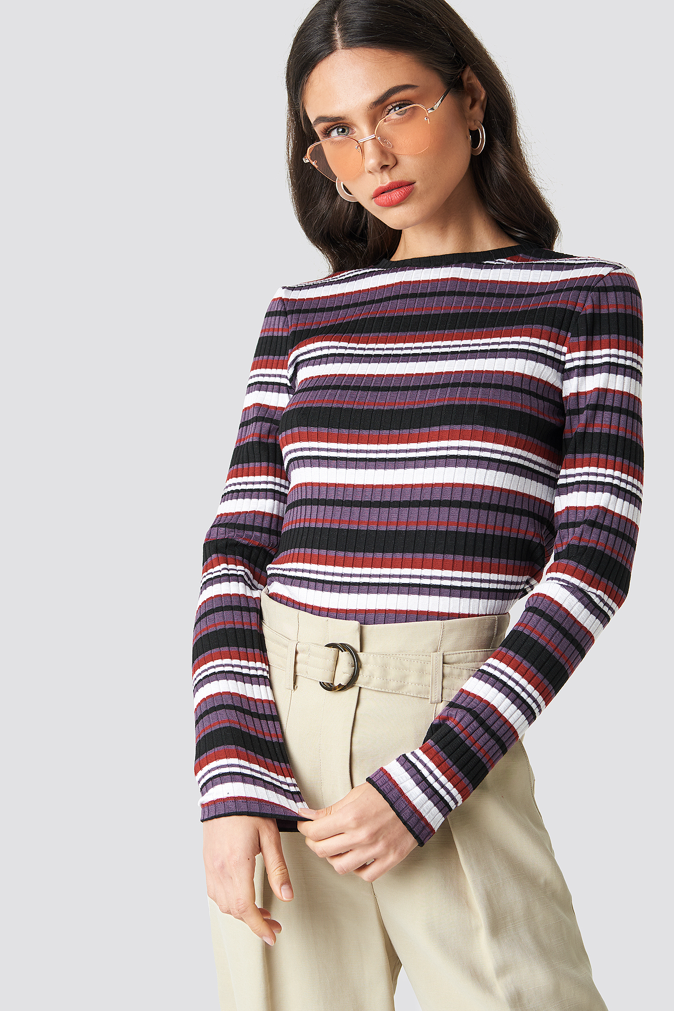 Round Neck Striped Top NA-KD.COM