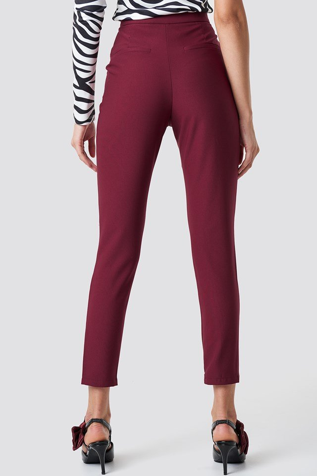 Slim Leg Suit Pants Burgundy