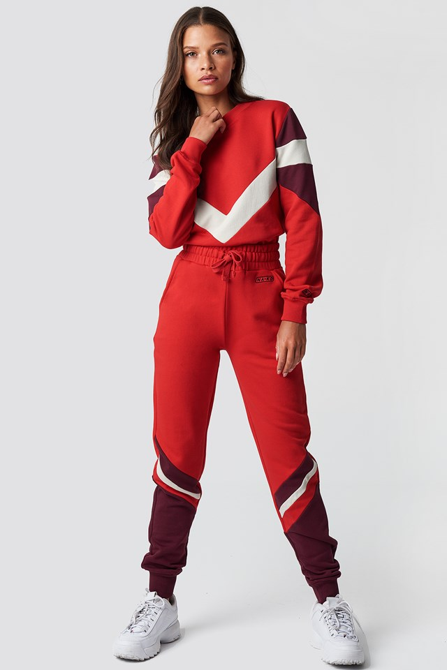 Stripe Blocked Sweatpants Red