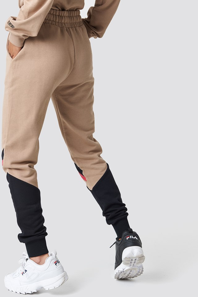 Stripe Blocked Sweatpants Golden Beige