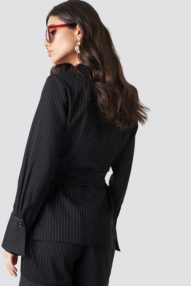 Tie Waist Striped Blazer Black