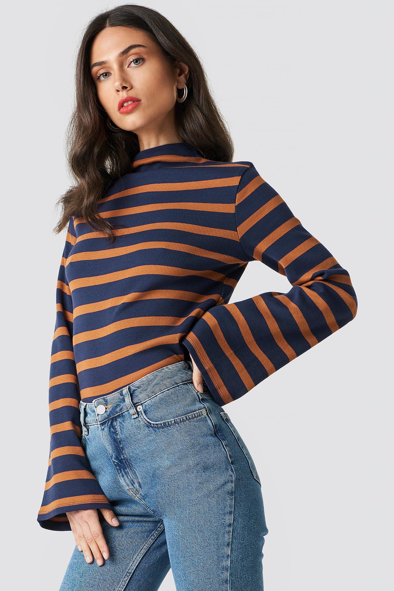 na-kd -  Turtle Neck Striped Top - Orange,Blue