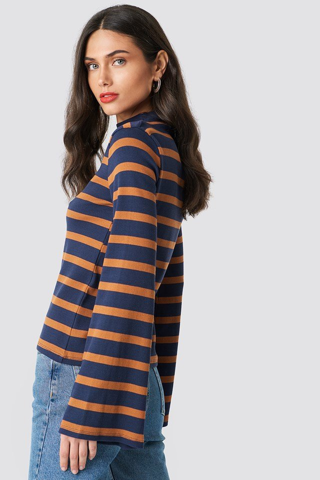 Turtle Neck Striped Top Navy