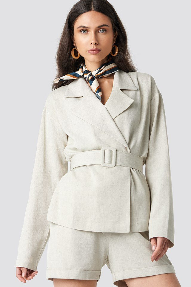 Wide Belted Oversized Blazer Light Beige