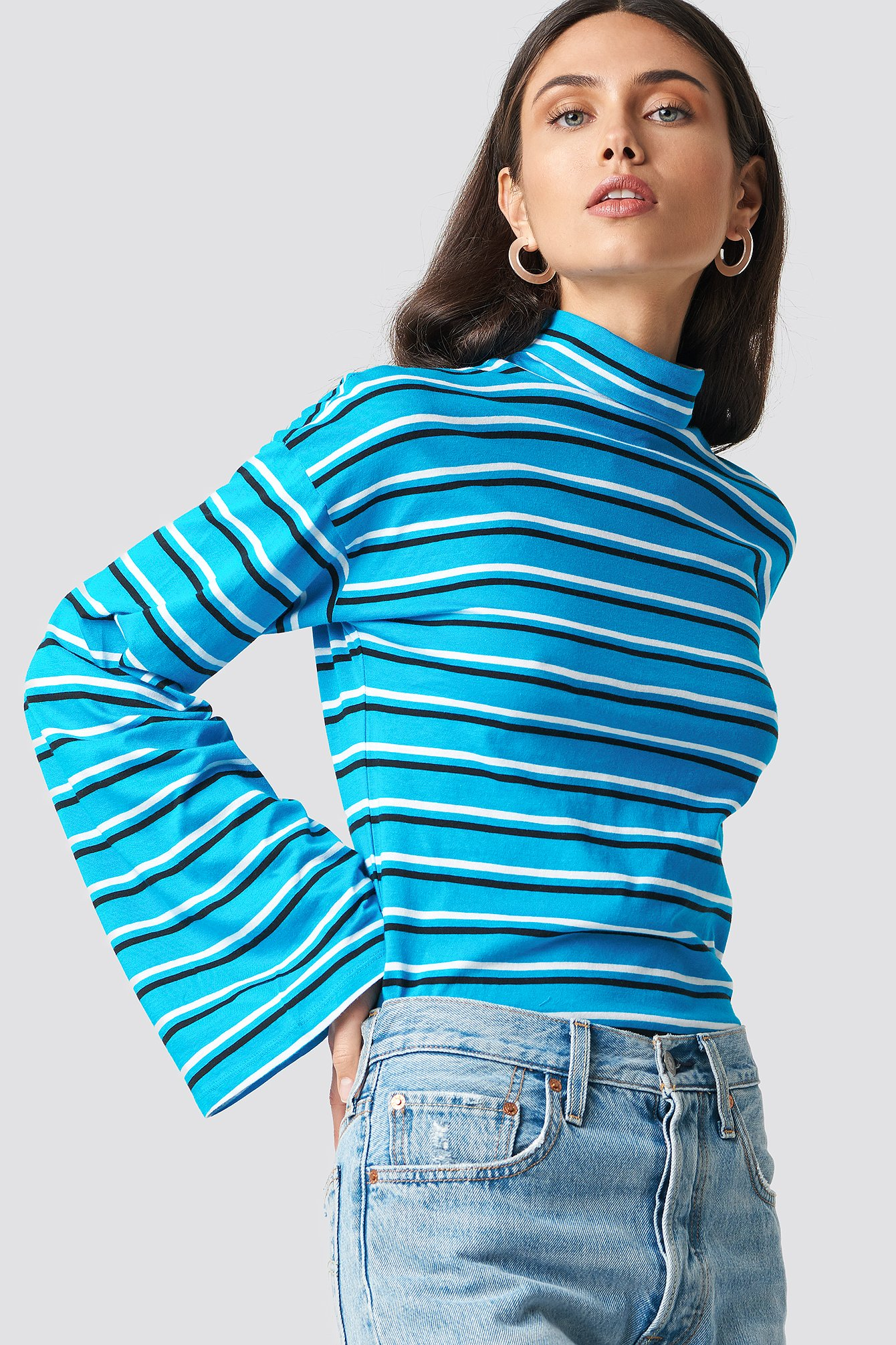 na-kd -  Wide Sleeve Polo Top - Blue