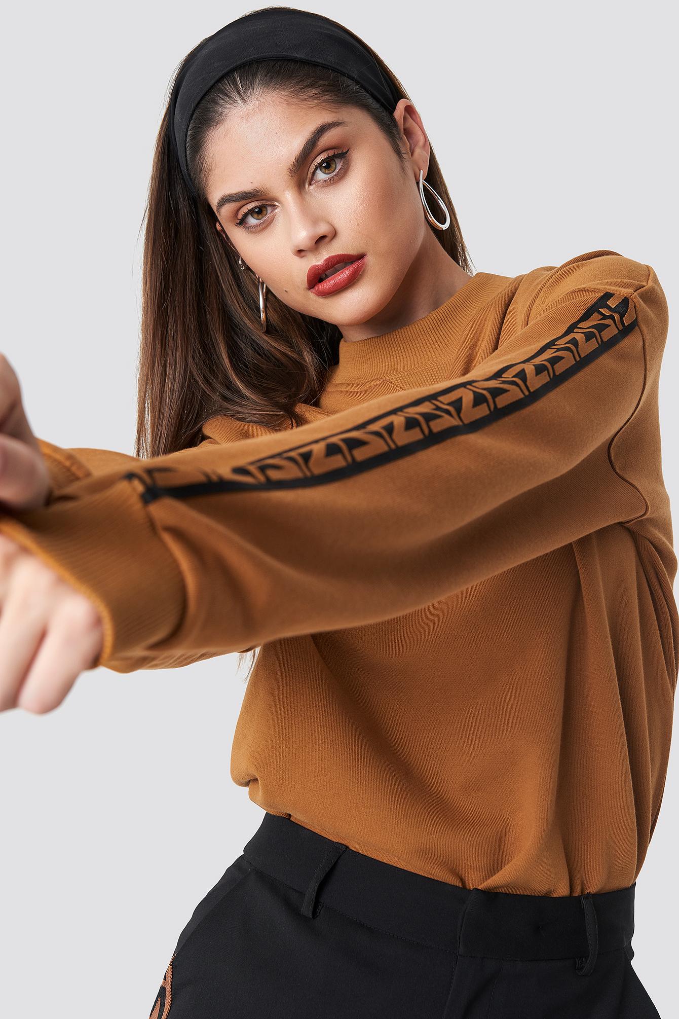 na-kd trend -  N Branded Stripe Sweatshirt - Orange
