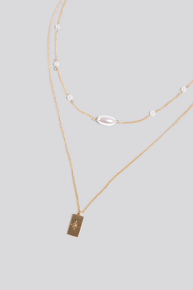 Double Chain Pearl Detail Necklace Erica Kvam x NA-KD