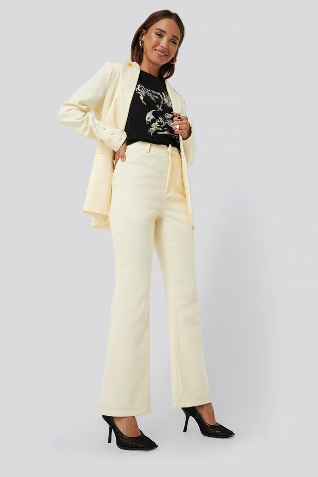 Highwaisted Suit Pants Off White