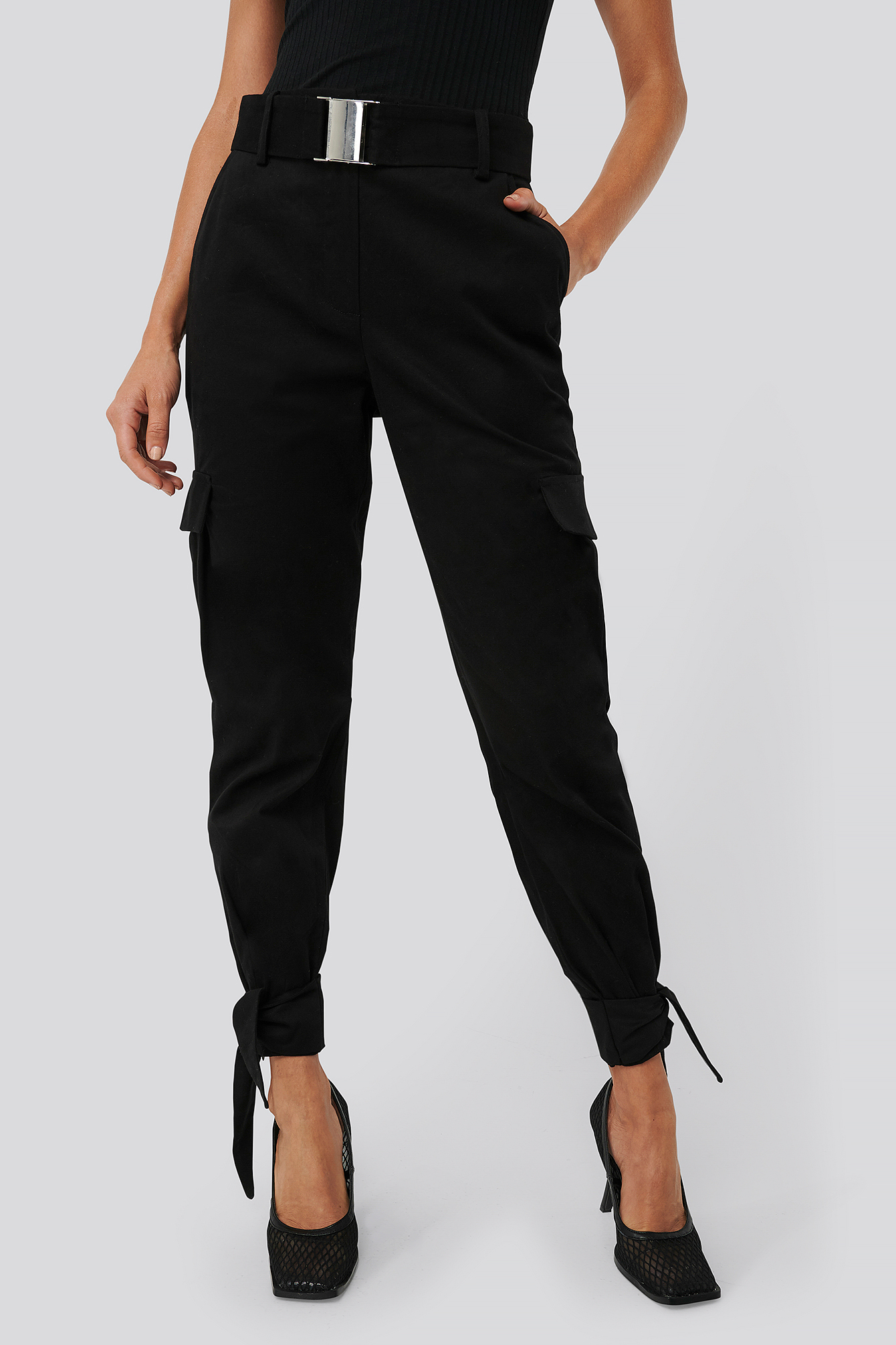 Black Knot Detail Cargo Pants