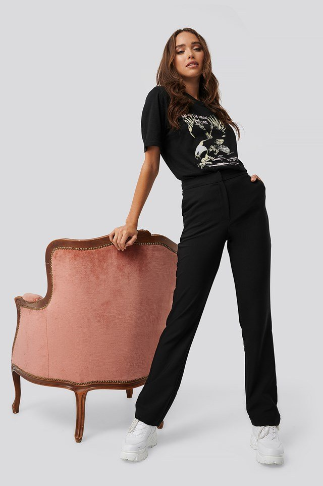 Straight Suiting Pants Black