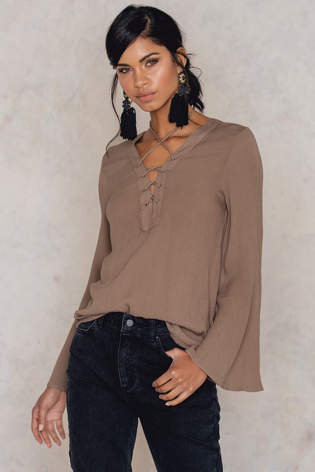 Lacing Front Neck Blouse Taupe