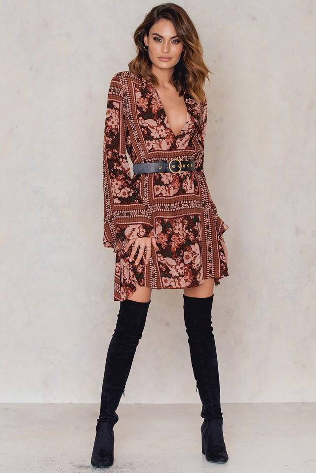 Trumpet Sleeve Dress Print