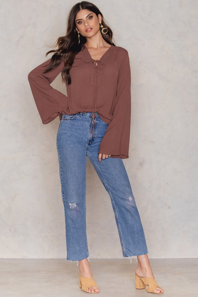 Lacing Front Neck Blouse Rust