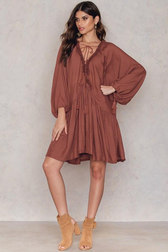 Linen Look Dress Rust