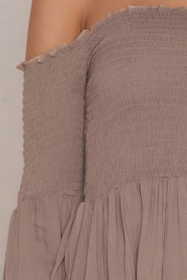 Off Shoulder Smock Dress Taupe