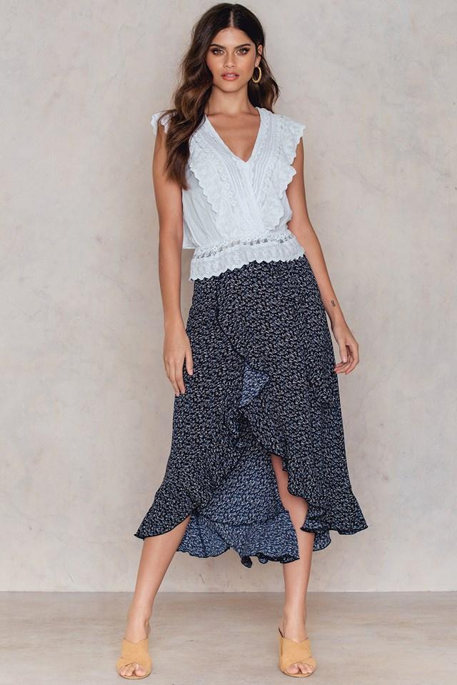 Flounce Overlap Skirt Print
