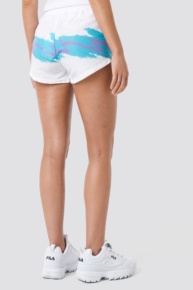 Brianna Shorts Bright White/Blue Curacao