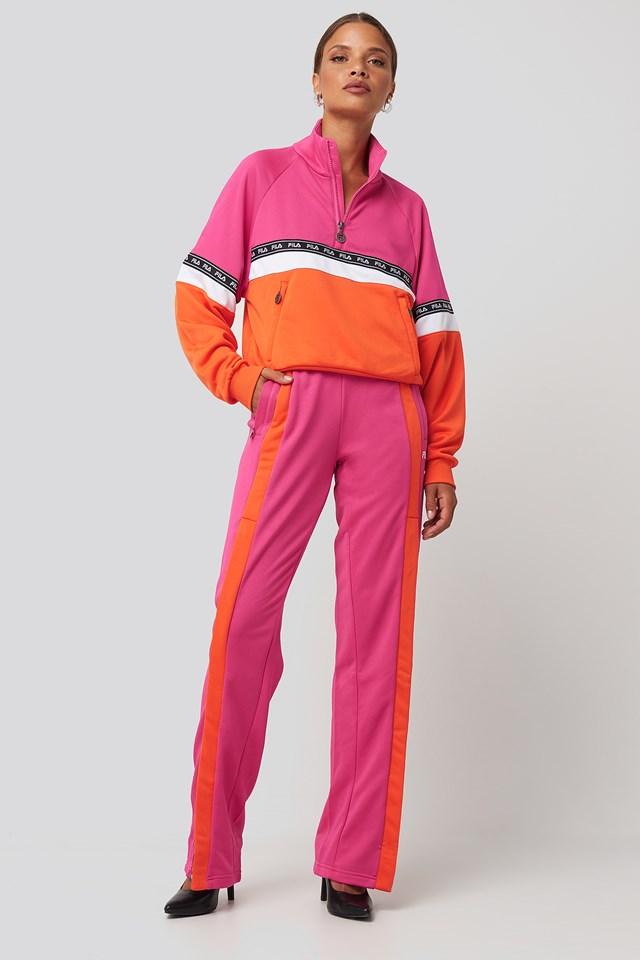 Chinami Half Zip Shirt Pink Yarrow/Mandarin Orange