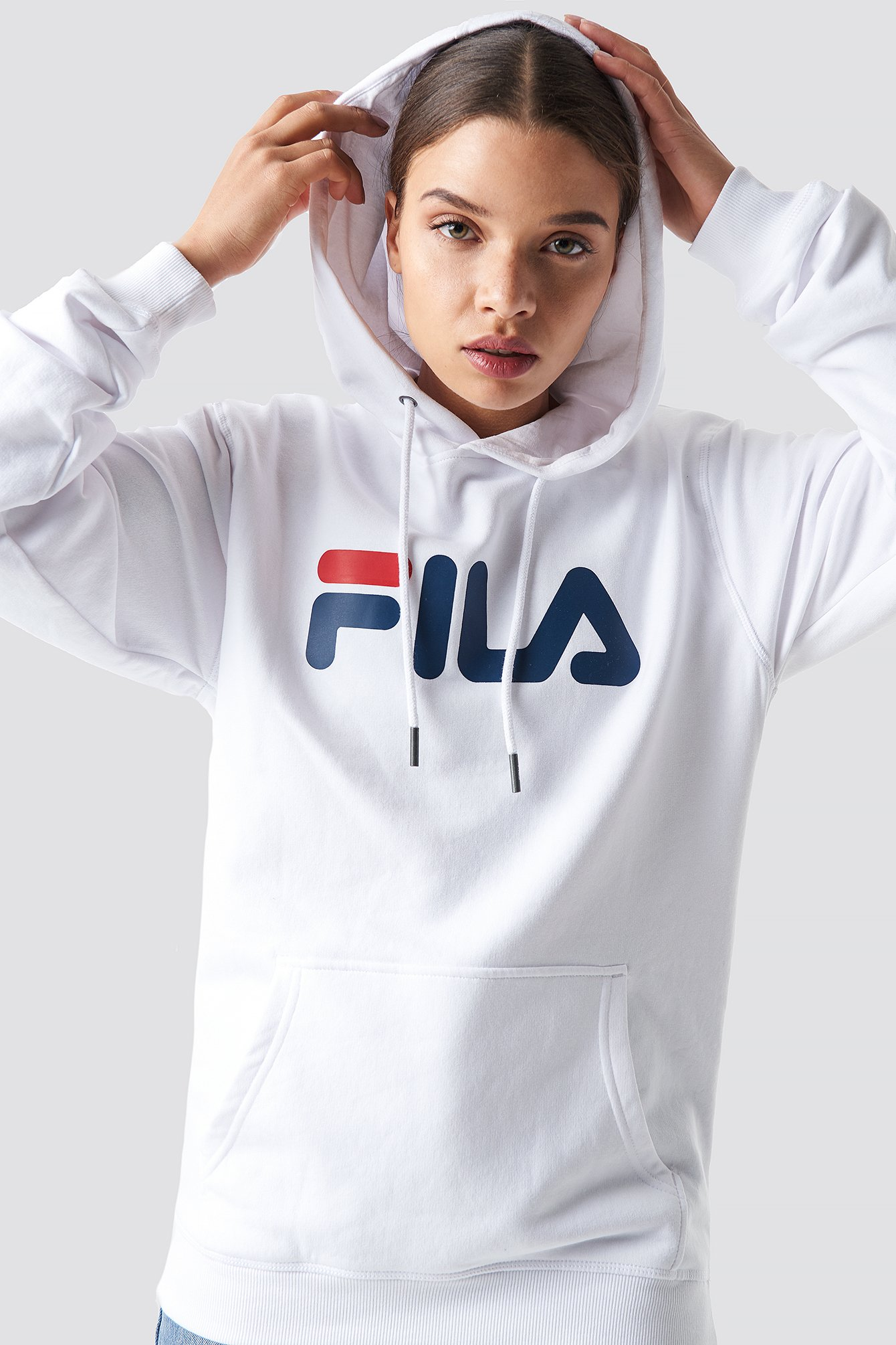 Logo-Print Cotton-Blend Jersey Hoody in White from NA-KD