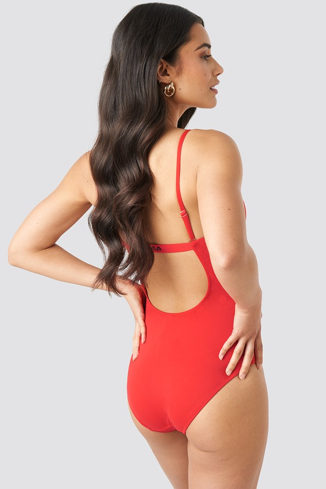 Saidi Swimsuit x NA-KD Racing Red