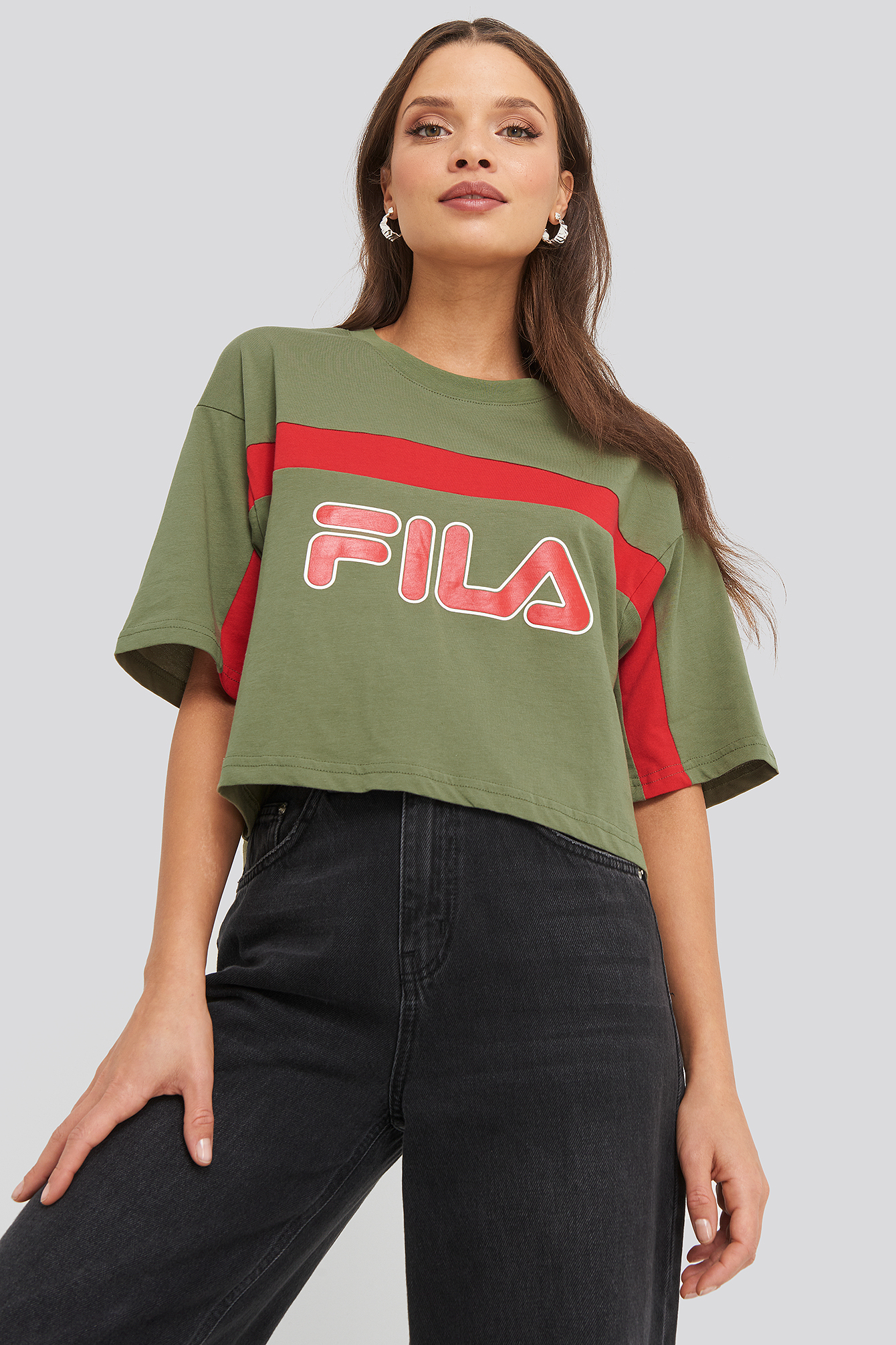 Deep Lichen Green/True Red Ulani Cropped Tee
