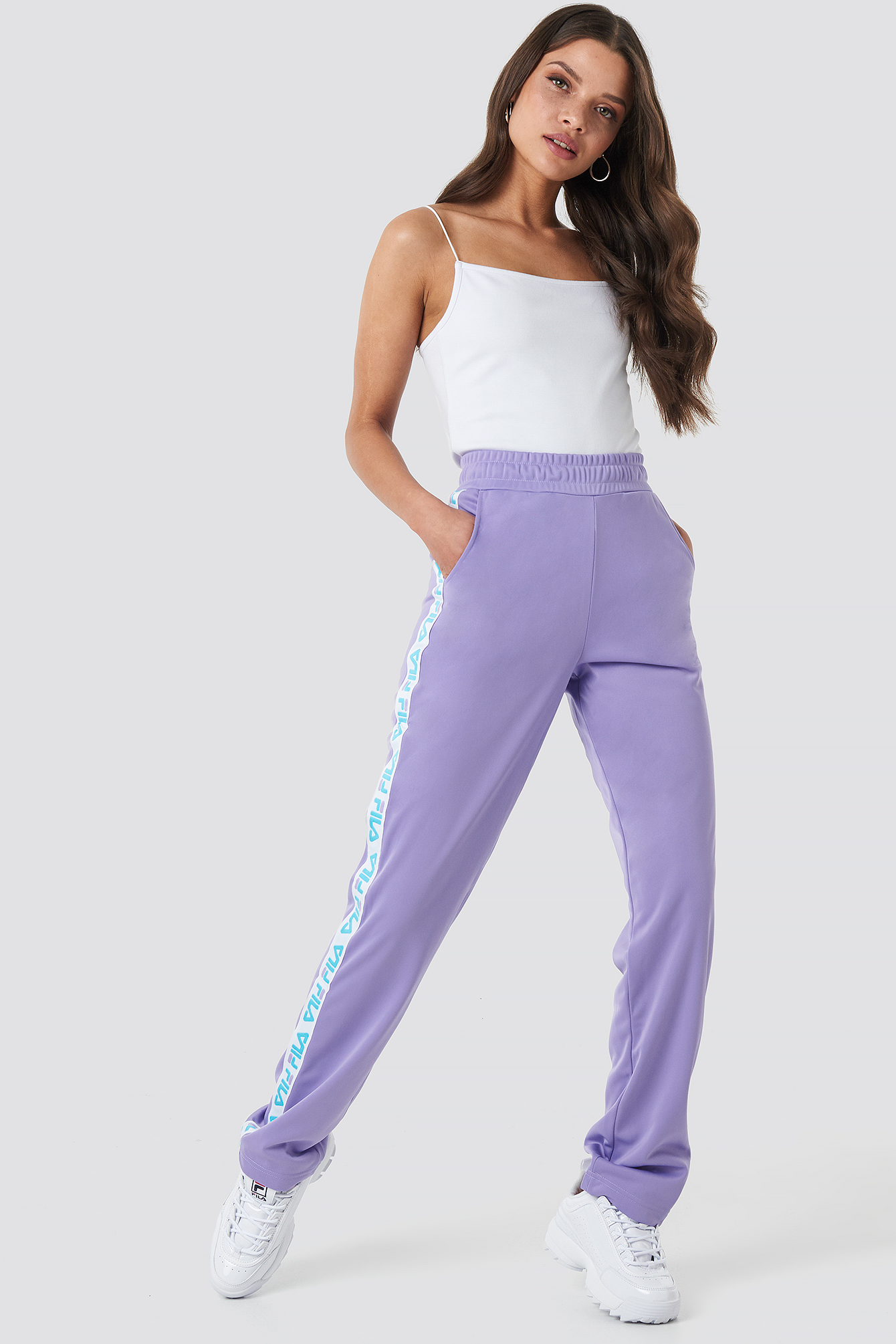 fila -  Women Strap Track Pants - Purple
