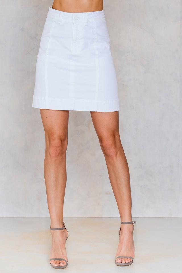 A-lined Denim Skirt White Denim