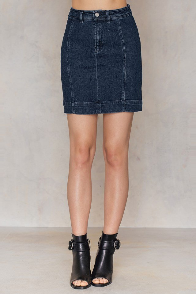A-lined Denim Skirt Dark Blue