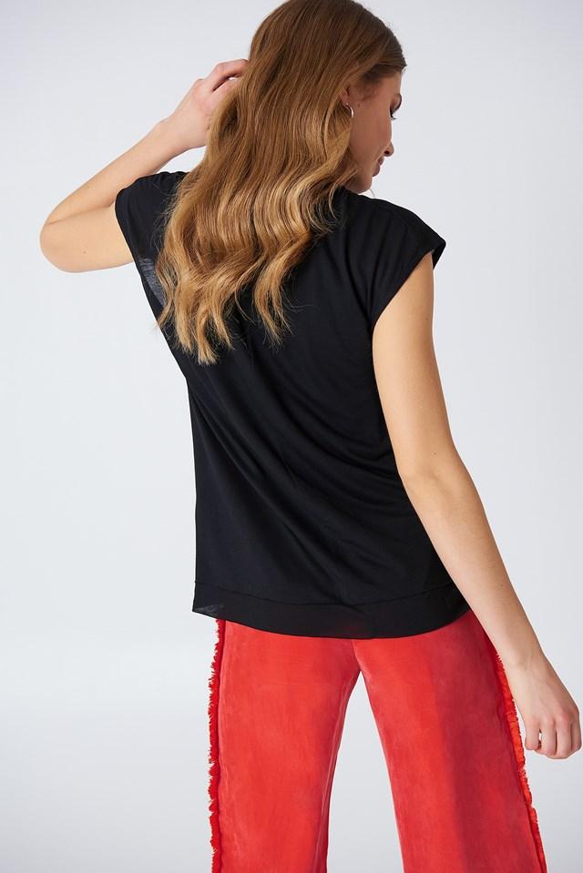 Double Layer Cap Sleeve Top Black